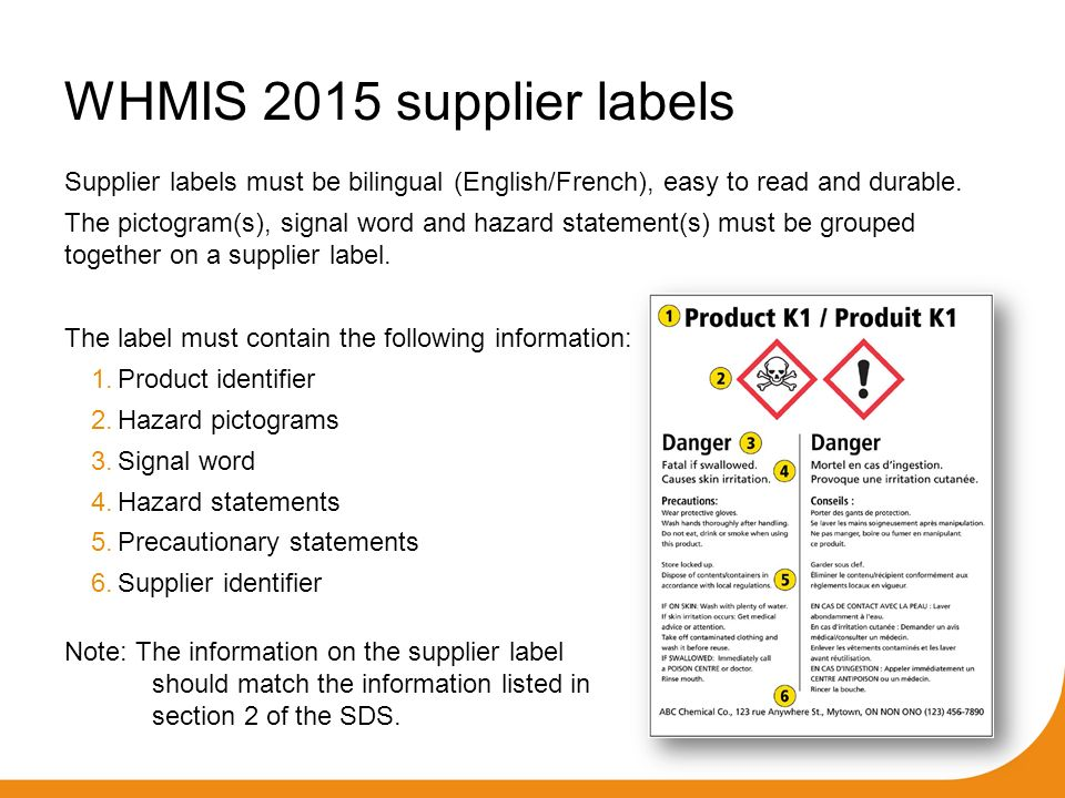 cd8ef5d79d5 WHMIS requires supplier labels be placed on containers of all controlled  products sold for use in the workplace. All suppliers who sell controlled  products ...